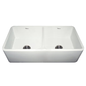 "Whitehaus WH3719 Fireclay Apron Front 37"" Kitchen Sink in White - Chariotwholesale"