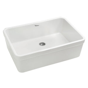 "Whitehaus WHB2620 Fireclay Apron Front 26"" Kitchen Sink in White - SpeedySinks"