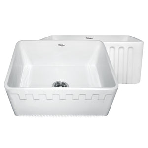 "Whitehaus WHFLATN2418 Fireclay Apron Front 24"" Kitchen Sink in White"