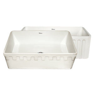 "Whitehaus WHFLATN3018 Fireclay Apron Front 30"" Kitchen Sink in Biscuit - SpeedySinks"