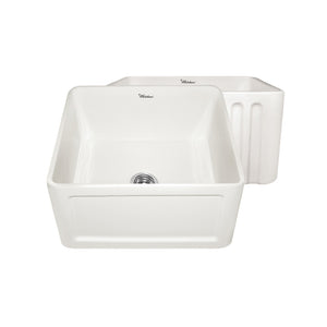 "Whitehaus WHFLCON2018 Fireclay Apron Front 20"" Kitchen Sink in Biscuit - Chariotwholesale"