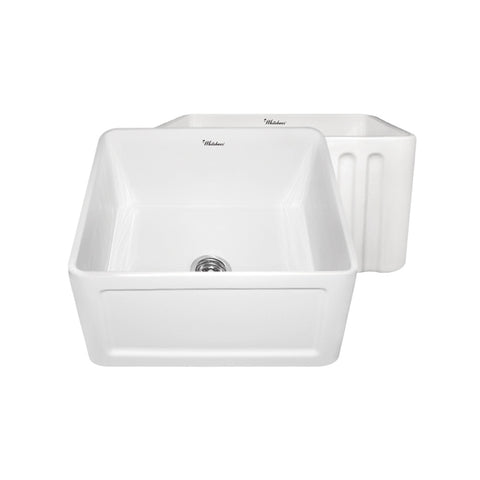 "Whitehaus WHFLCON2018 Fireclay Apron Front 20"" Kitchen Sink in White"