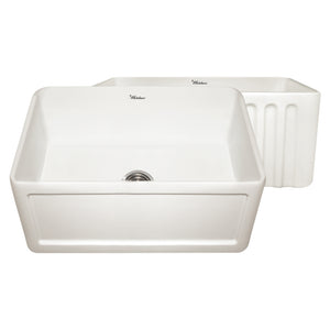 "Whitehaus WHFLCON2418 Fireclay Apron Front 24"" Kitchen Sink in Biscuit - SpeedySinks"