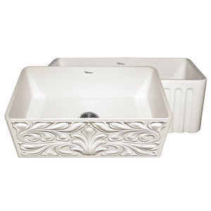 "Whitehaus WHFLGO3018 Fireclay Apron Front 33"" Kitchen Sink in Biscuit"