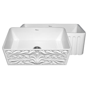 "Whitehaus WHFLGO3018 Fireclay Apron Front 33"" Kitchen Sink in White - SpeedySinks"