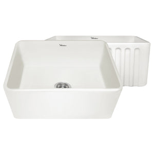 "Whitehaus WHFLPLN2418 Fireclay Apron Front 24"" Kitchen Sink in Biscuit - SpeedySinks"