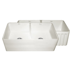 "Whitehaus WHFLPLN3318 Fireclay Apron Front 33"" Kitchen Sink in Biscuit - SpeedySinks"