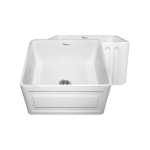 "Whitehaus WHFLRPL2018 Fireclay Apron Front 20"" Kitchen Sink in White - Chariotwholesale"