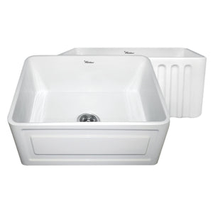 "Whitehaus WHFLRPL2418 Fireclay Apron Front 24"" Kitchen Sink in White - SpeedySinks"