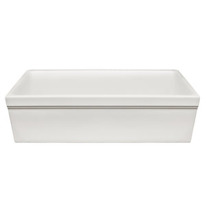 "Whitehaus WHQ536 Fireclay Apron Front 36"" Kitchen Sink in White"