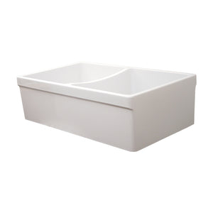 "Whitehaus WHQDB532 Fireclay Apron Front 33"" Kitchen Sink in White - Chariotwholesale"