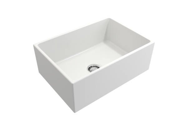 Contempo Apron Front Fireclay 27 in. Single Bowl Kitchen Sink with Protective Bottom Grid and Strainer - Chariotwholesale