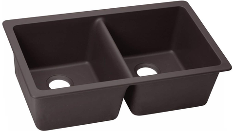 "Elkay Quartz Luxe 33"" x 18-1/2"" x 9-1/2"", Equal Double Bowl Undermount Sink, Chestnut"