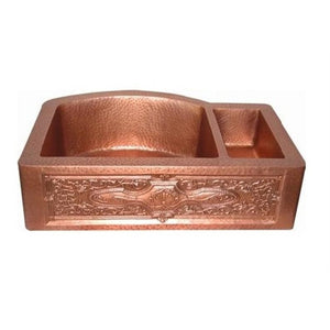 Oriental Apron Front Off-set with Design Double Basin Copper Kitchen Sink - SpeedySinks