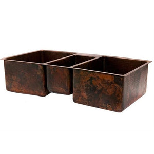Log Cabin Triple Bowl Copper Undermount Kitchen Sink - SpeedySinks