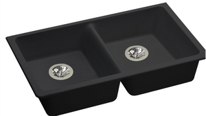"Elkay ELGUAD3319PDBK0 Quartz Classic 33"" x 18-1/2"" x 5-1/2"", Equal Double Undermount ADA Sink with Perfect Drain, Black"