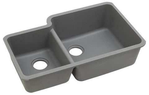 "Elkay Quartz Classic 33"" x 20-11/16"" x 9"", Offset 40/60 Double Bowl Undermount Sink with Aqua Divide, Greystone"