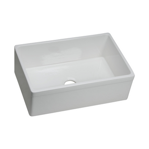 "Elkay Fireclay 29-7/8"" x 19-3/4"" x 10-1/16"", Single Bowl Farmhouse Sink in White"