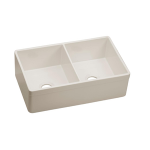 "Elkay Fireclay 33"" x 19-15/16"" x 10-1/8"", Equal Double Bowl Farmhouse Sink in Biscuit"