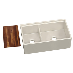 "Elkay Fireclay 33"" x 20"" x 10-1/8"" 60/40 Double Bowl Farmhouse Sink in Biscuit with Aqua Divide - SpeedySinks"