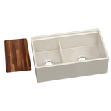"Elkay Fireclay 33"" x 20"" x 10-1/8"" 60/40 Double Bowl Farmhouse Sink in Biscuit with Aqua Divide - Chariotwholesale"