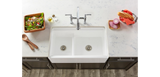 "Elkay Fireclay 33"" x 20"" x 10-1/8"" 60/40 Double Bowl Farmhouse Sink in White with Aqua Divide - SpeedySinks"