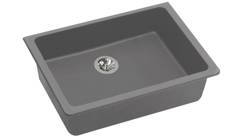 "Elkay ELGUAD2519PDGS0 Quartz Classic 25"" x 18-1/2"" x 5-1/2"", Undermount ADA Sink with Perfect Drain in Greystone"
