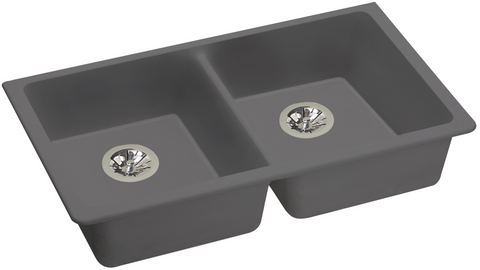 "Elkay ELGUAD3319PDGS0 Quartz Classic 33"" x 18-1/2"" x 5-1/2"", Equal Double Undermount ADA Sink with Perfect Drain, Greystone"