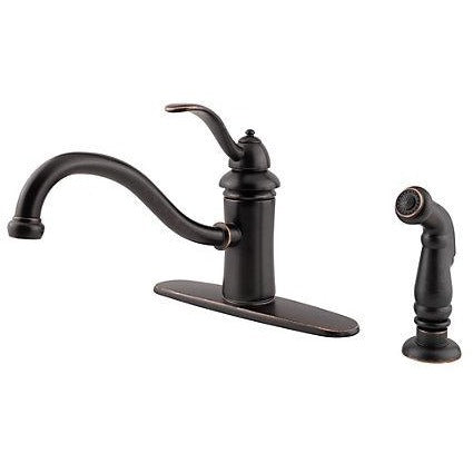 Pfister Marielle 1-Handle Kitchen Faucet with Side Spray in Tuscan Bronze - SpeedySinks