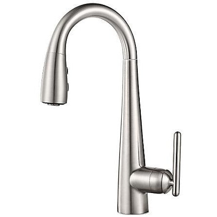 Pfister Lita 1 Handle Pull Down Bar and Prep Faucet in Stainless Steel - Chariotwholesale