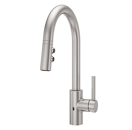 Pfister Stellen Pull-Down Kitchen Faucet with React Touch-Free Technology in Stainless Steel - SpeedySinks