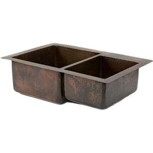 Log Cabin Denali 60/40 Double Bowl Copper Undermount Kitchen Sink