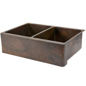 Log Cabin Sequoia Double Bowl Equal Double Apron Front Copper Kitchen Sink - SpeedySinks