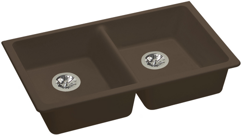 "Elkay ELGUAD3319PDMC0 Quartz Classic 33"" x 18-1/2"" x 5-1/2"", Equal Double Undermount ADA Sink with Perfect Drain, Mocha"
