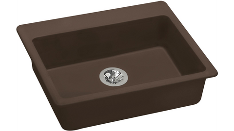 "Elkay ELGAD2522PDMC0 Quartz Classic 25"" x 22"" x 5-1/2"", Top Mount ADA Sink with Perfect Drain in Mocha"