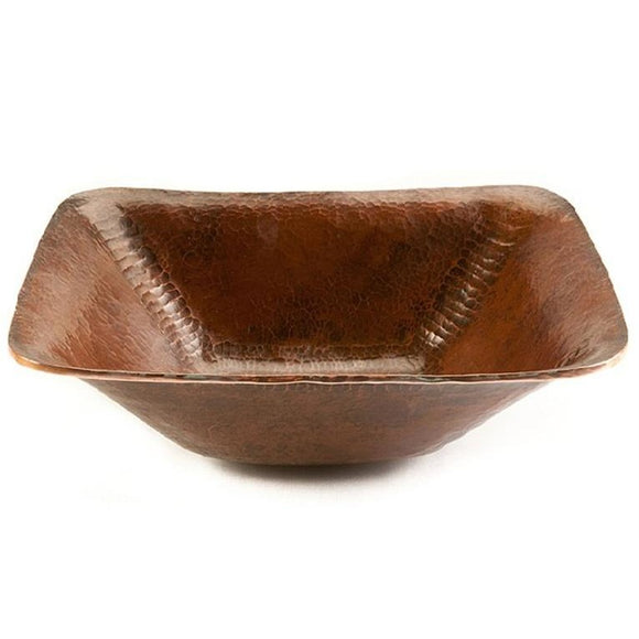 Log Cabin Grotto Rectangle Vessel Copper Bathroom Sink
