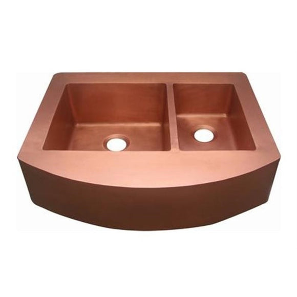 Oriental Curved Apron Front Off-set Double Basin Copper Kitchen Sink - SpeedySinks