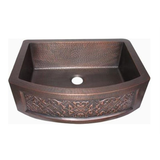 Oriental Curved Apron Front Single Basin with Design Copper Kitchen Sink - Chariotwholesale
