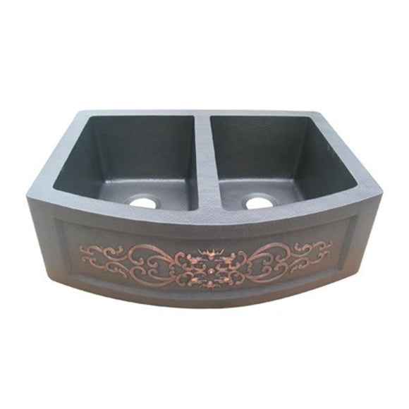 Oriental Curved Double Basin Apron Front with Design Copper Kitchen Sink - SpeedySinks