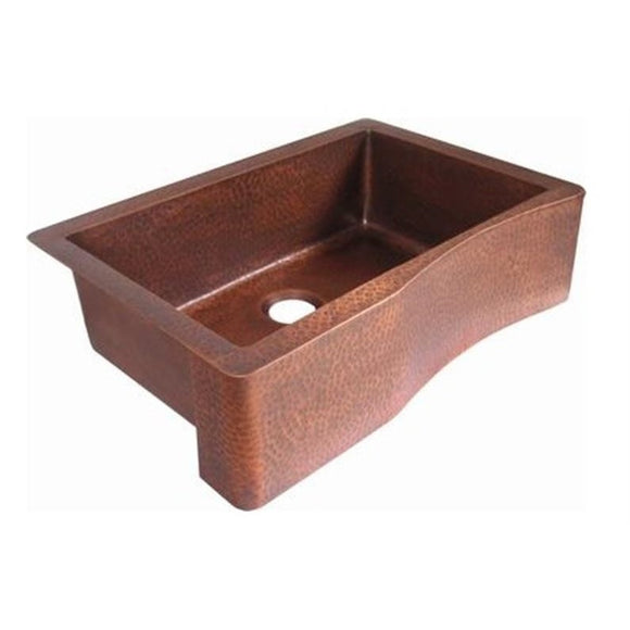 Oriental Curved Plain Single Basin Apron Front Copper Kitchen Sink - SpeedySinks