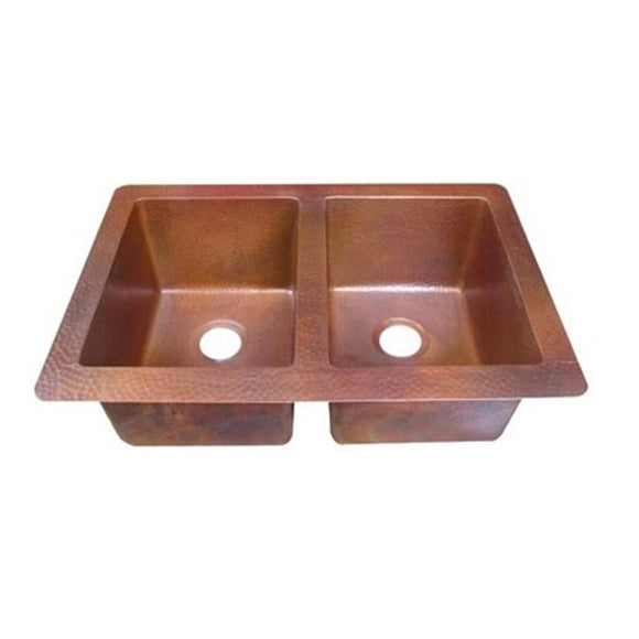 Oriental Double Bowl Plain Universal Mount Copper Kitchen Sink - SpeedySinks