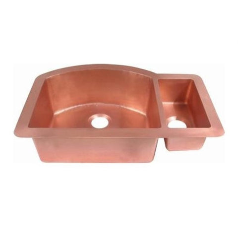 Oriental Large Offset Double Bowl Universal Mount Copper Kitchen Sink - SpeedySinks