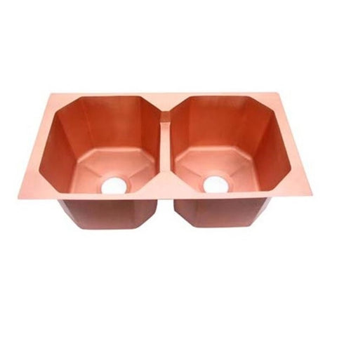Oriental Octagon Double Basin Universal Mount Copper Kitchen Sink - SpeedySinks