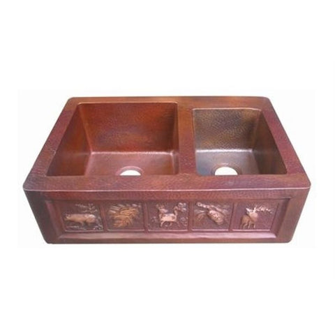 Oriental Off-set Double Basin Apron Front with Design Copper Kitchen Sink - SpeedySinks