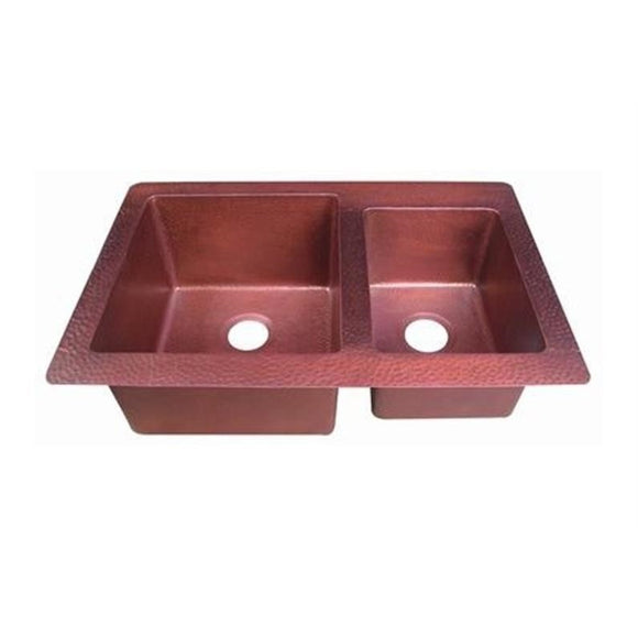 Oriental Offset Double Basin Universal Mount Copper Kitchen Sink - SpeedySinks