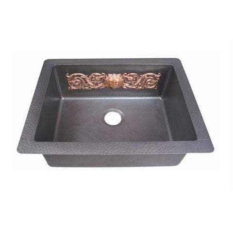 Oriental Single Basin with Decorative Design Universal Mount Copper Kitchen Sink - SpeedySinks
