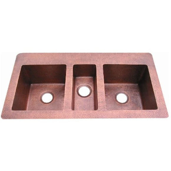 Oriental Triple Basin Topmount Copper Kitchen Sink - SpeedySinks