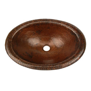 Log Cabin Frontier Oval Wide Rim Copper Top Mount Bathroom Sink - SpeedySinks