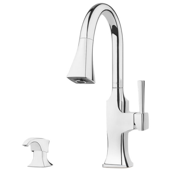 Pfister F-529-7KFC Kroft Pulldown Kitchen Faucet With Soap Dispenser in Chrome - Chariotwholesale