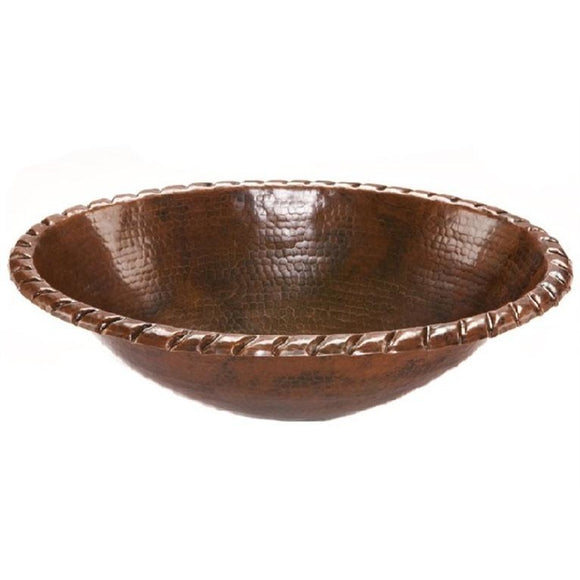 Log Cabin Oval Roped Rolled Rim Copper Top Mount Bathroom Sink - SpeedySinks